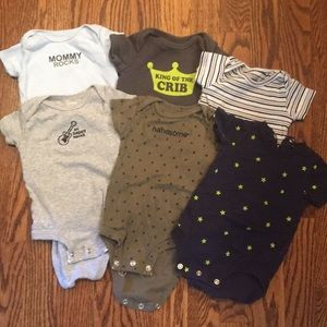 6 Carters short sleeve onesies